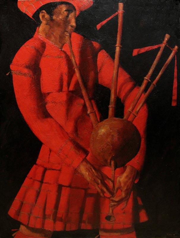 """Bagpiper"". 2008, Oil on Canvas, 120x93 cm"