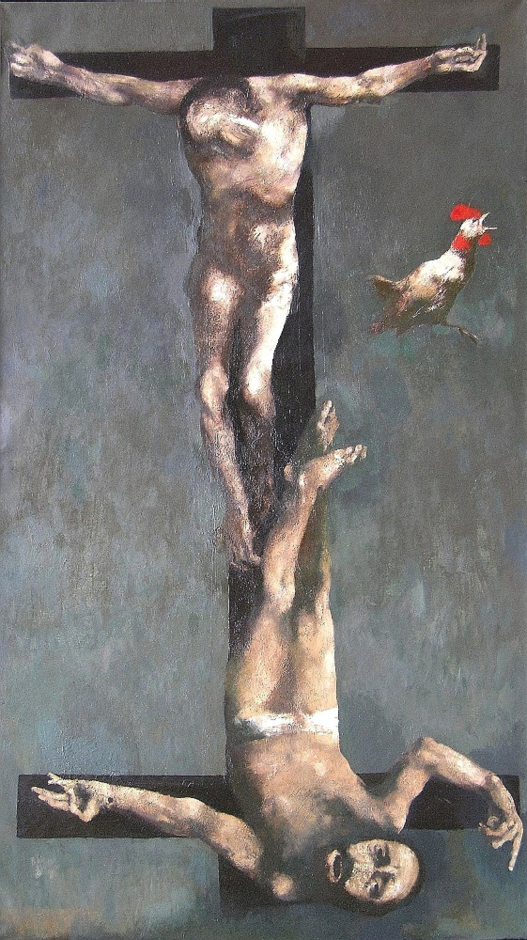 ''Christ and Peter'', 2005, Oil on Canvas, 180x102 cm
