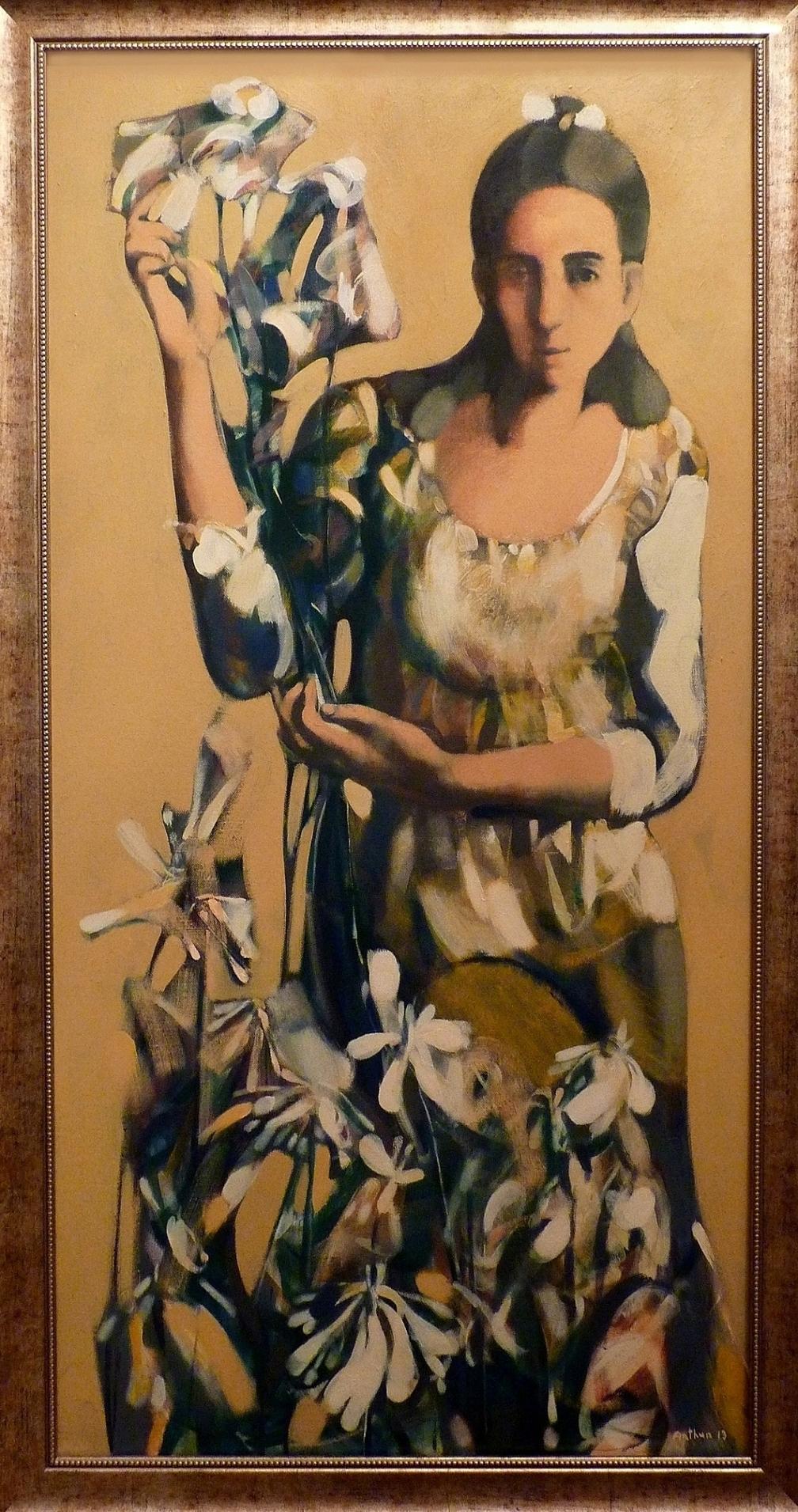 """''Flower Seller"""", 2013, Oil on Canvas, 120x60 cm"""