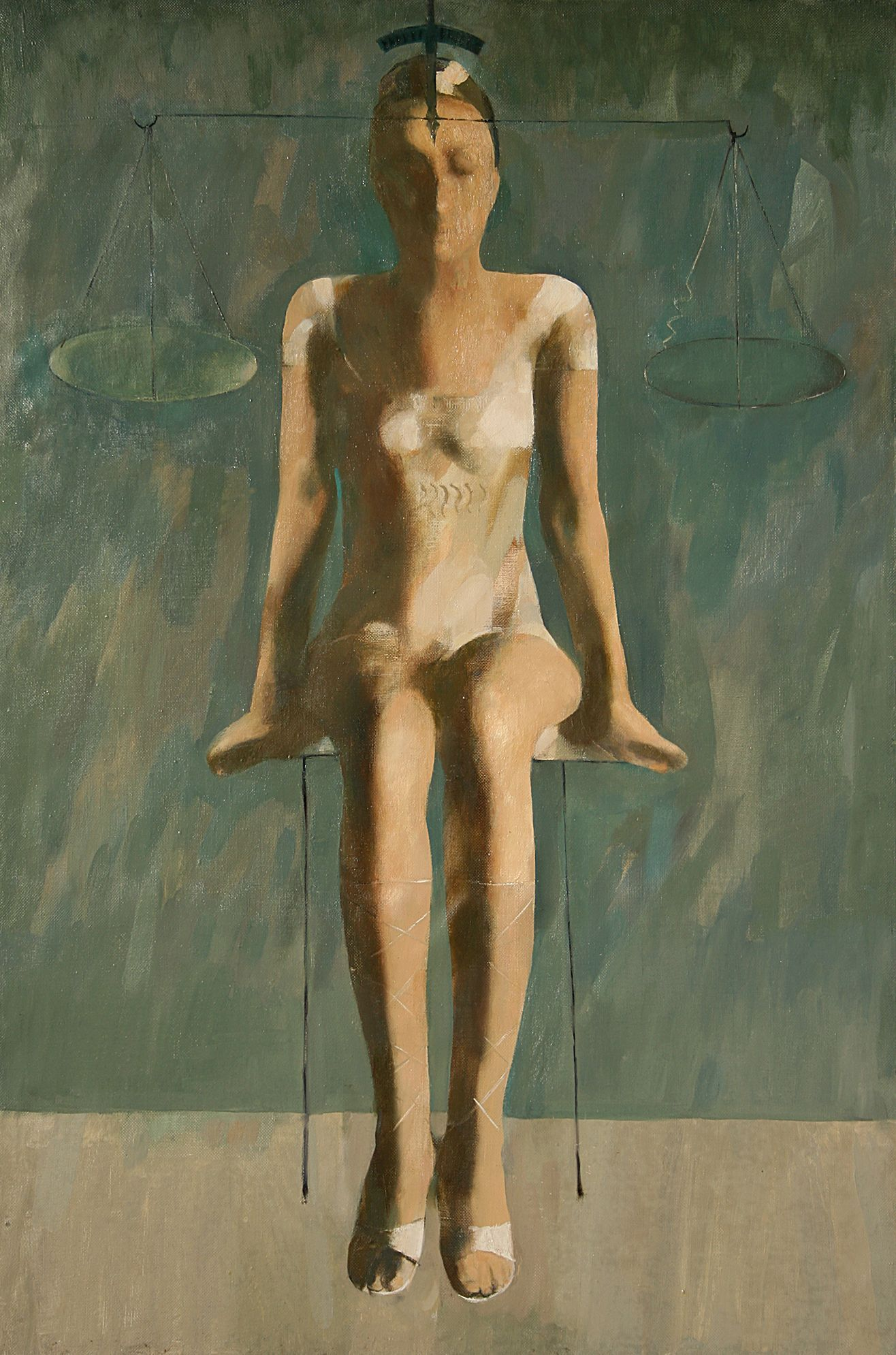 """''Girl and Scales"""", 2006, Oil on Canvas, 120x80 cm"""