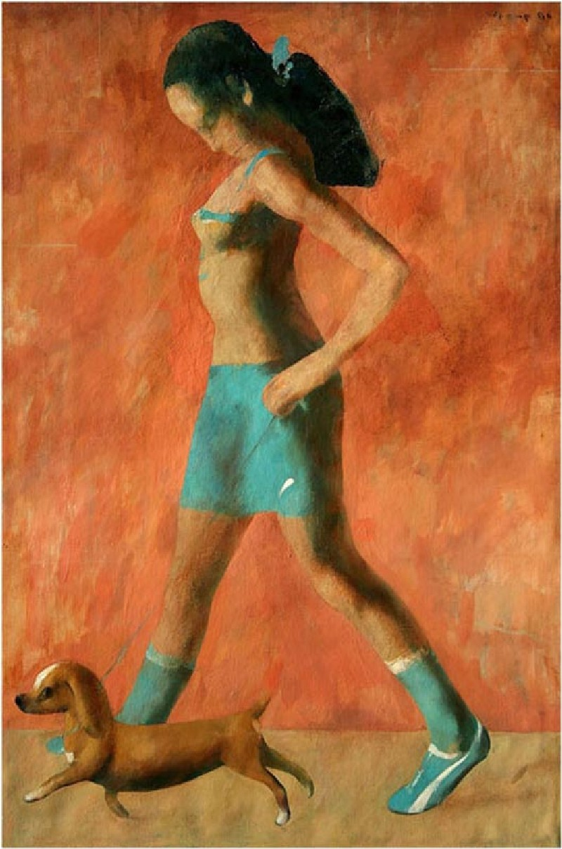 "''Girl With a Dog"", 2006, Oil on Canvas, 120x80 cm"