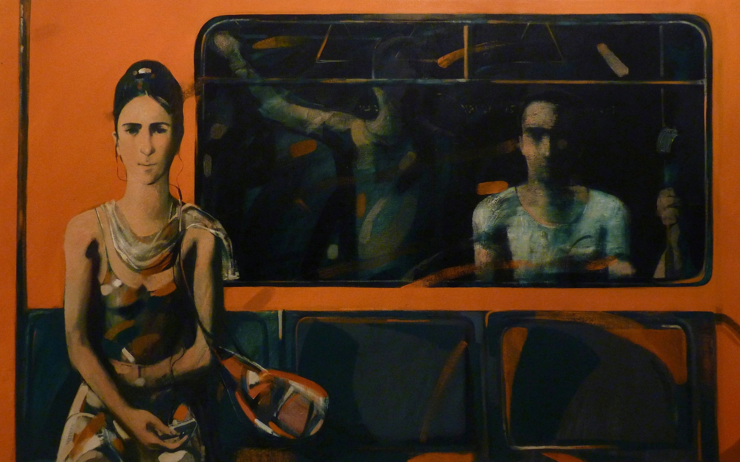 "''In Metro"", 2013, Oil on Canvas, 94x150 cm"