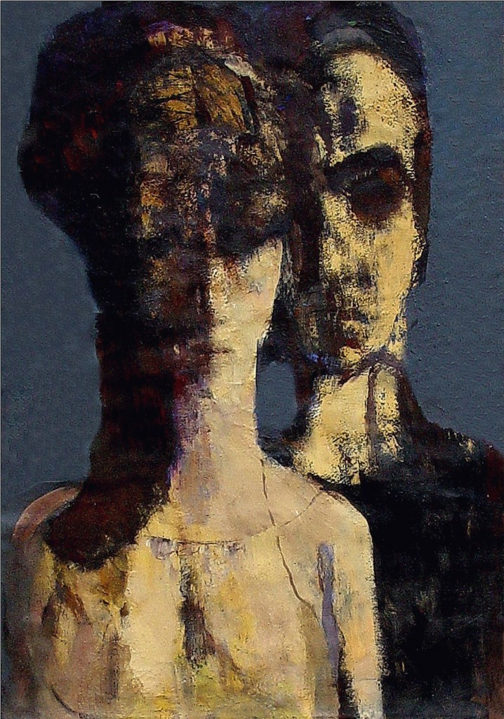"""''She and Me"""", 2004, Tempera on Cardboard, 60x42 cm"""