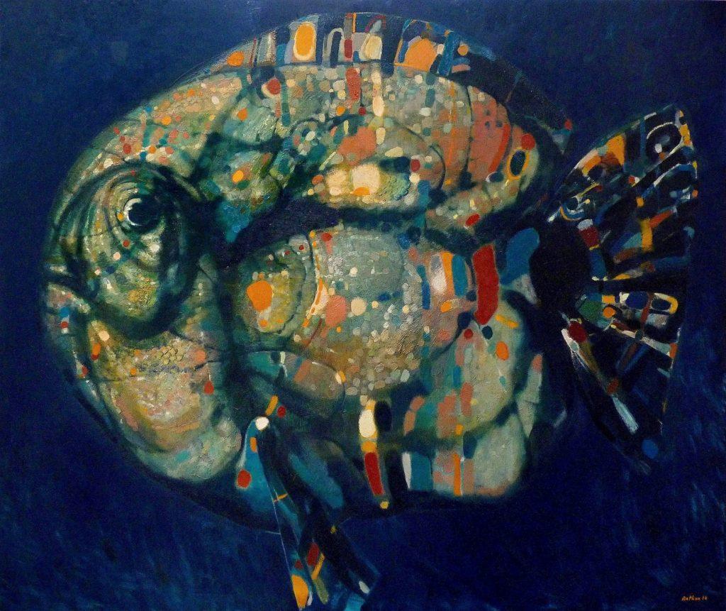 """Tempting Fish"", 2014, Oil on Canvas, 140 x 160 cm"