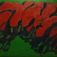 """Blooming cherries"" 2016, Oil on Canvas, 45×50 cm"