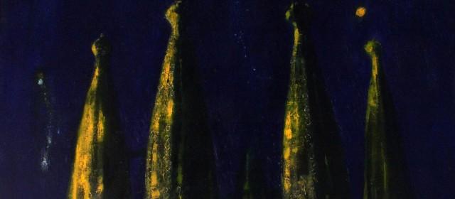 """Starry sky. Sagrada Familia"". 2016, Oil on Canvas, 140×90 cm"