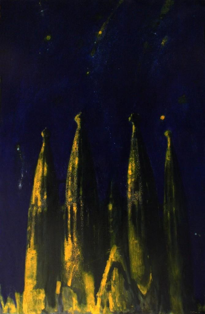 ''Starry sky. Sagrada Familia''. 2016, Oil on Canvas, 140x90 cm