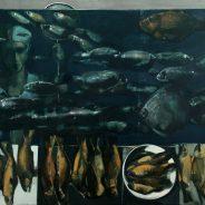 The Fishmonger (Las Ramblas, Market Boqueria) 2017, Oil on Canvas, 93×120 cm
