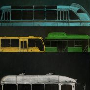 """""""Bus Forms"""" 2018, Oil on Canvas, 225×150 cm"""