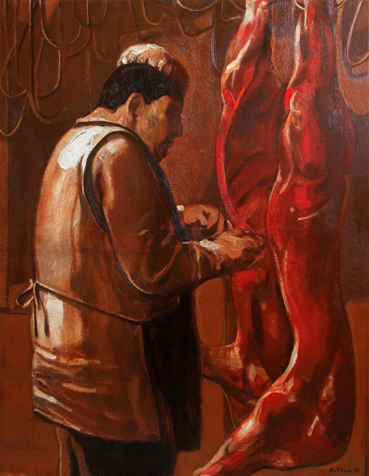 ''Butcher'' 2019, Oil on canvas, 90x70 cm