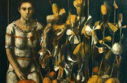 """""""Flower seller"""" 2019,   Oil on Canvas, 100×100 cm"""