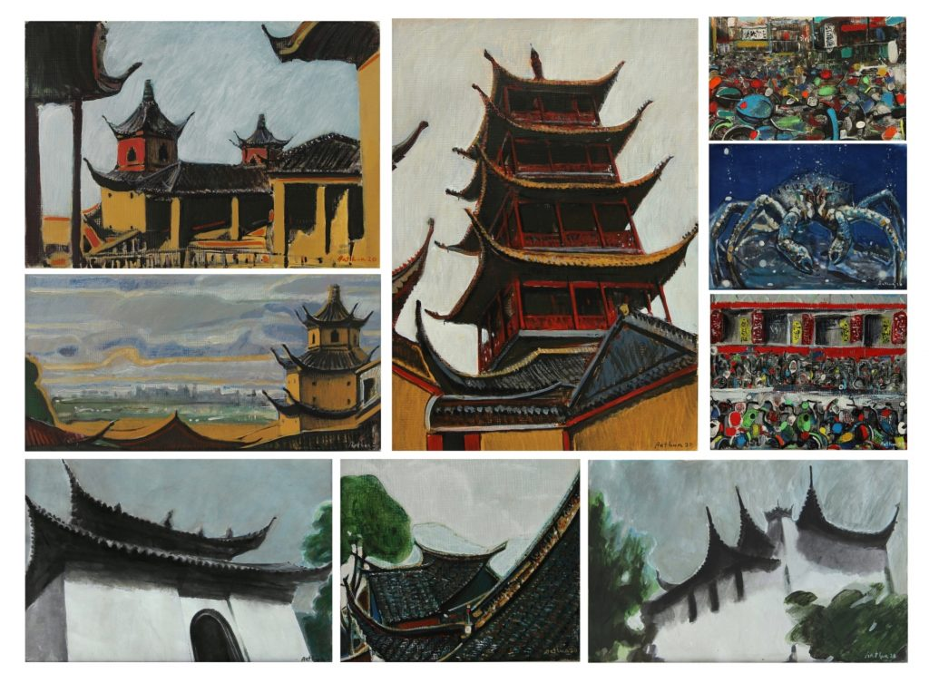 """Chinese impressions / memories"" serie, 2020, Acrylic on gardboard"