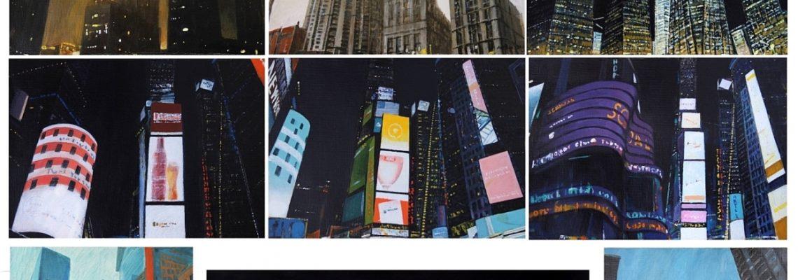 New York impressions 2020, Acrylic on gardboard, 205x130 cm (17 piece)