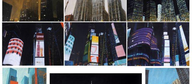"""New York impressions"" 2020, Acrylic on gardboard, 205×130 cm (17 piece)"