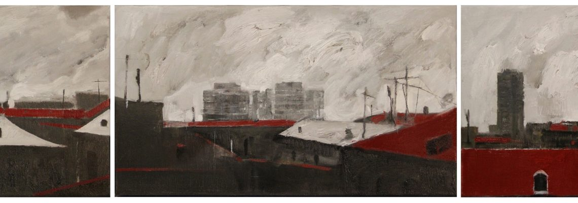 ''The city'' 2020, Oil on canvas, 25x45 cm (x3)