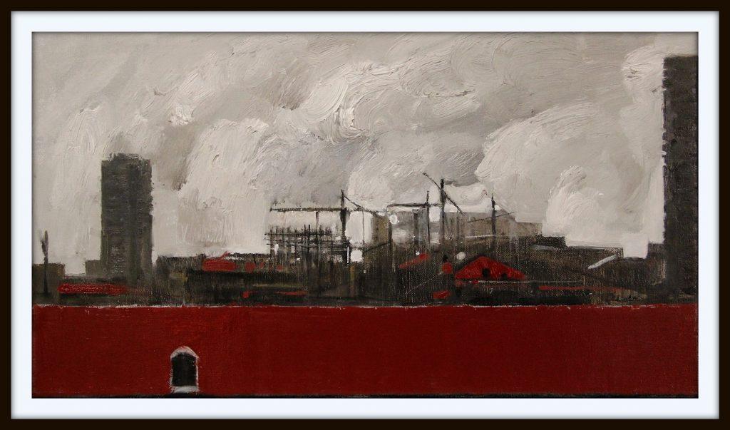 ''The city'' N3 2020, Oil on canvas, 25x45 cm
