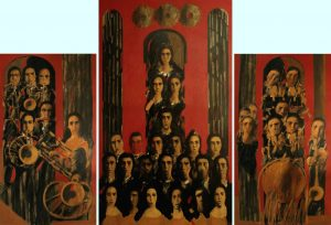 ''Music''(Unison) 2008-09, Oil on canvas. triptych- right and left 180X100cm, central 240X140cm